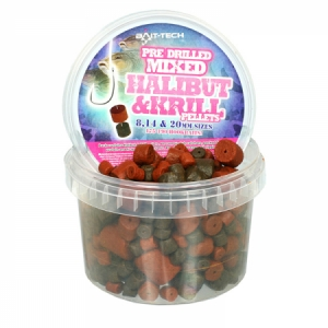 Chytacie pelety mix Bait-tech Halibut and Krill 300g
